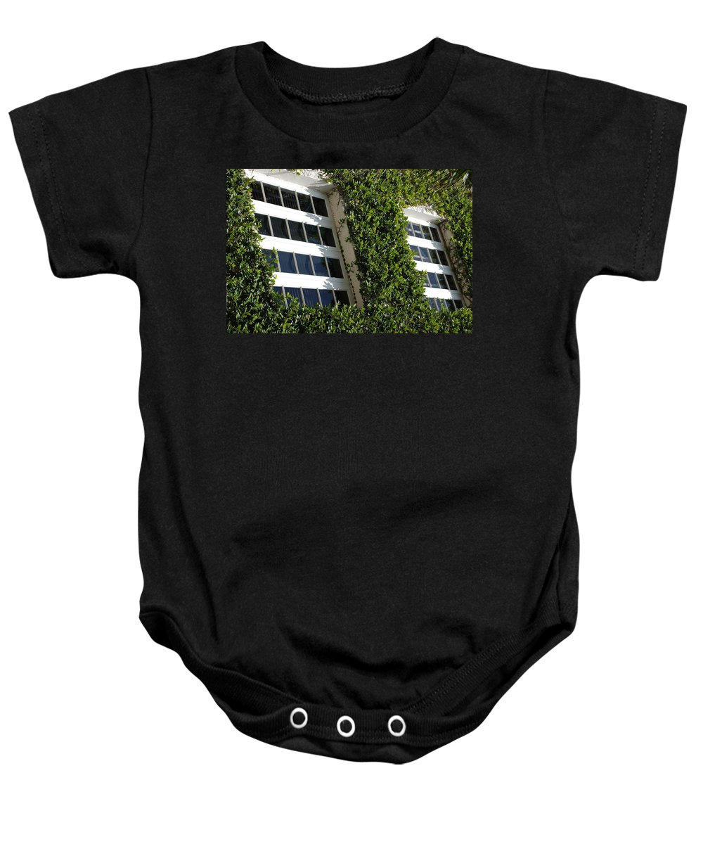 Architecture Baby Onesie featuring the photograph Vines And Glass by Rob Hans