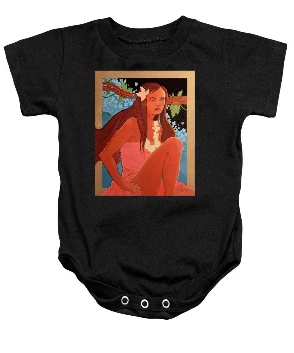 Colorful Baby Onesie featuring the painting Vines by Naro Naro