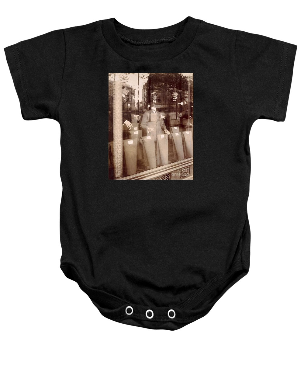 Vintage Paris Baby Onesie featuring the painting Vintage Paris Men's Fashion by Mindy Sommers