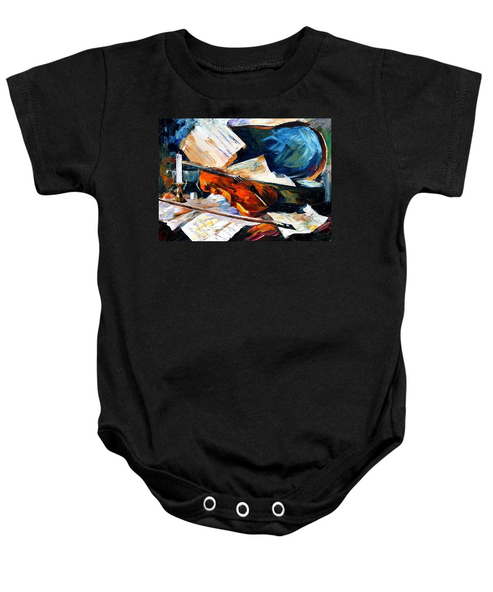Music Baby Onesie featuring the painting Violin by Leonid Afremov