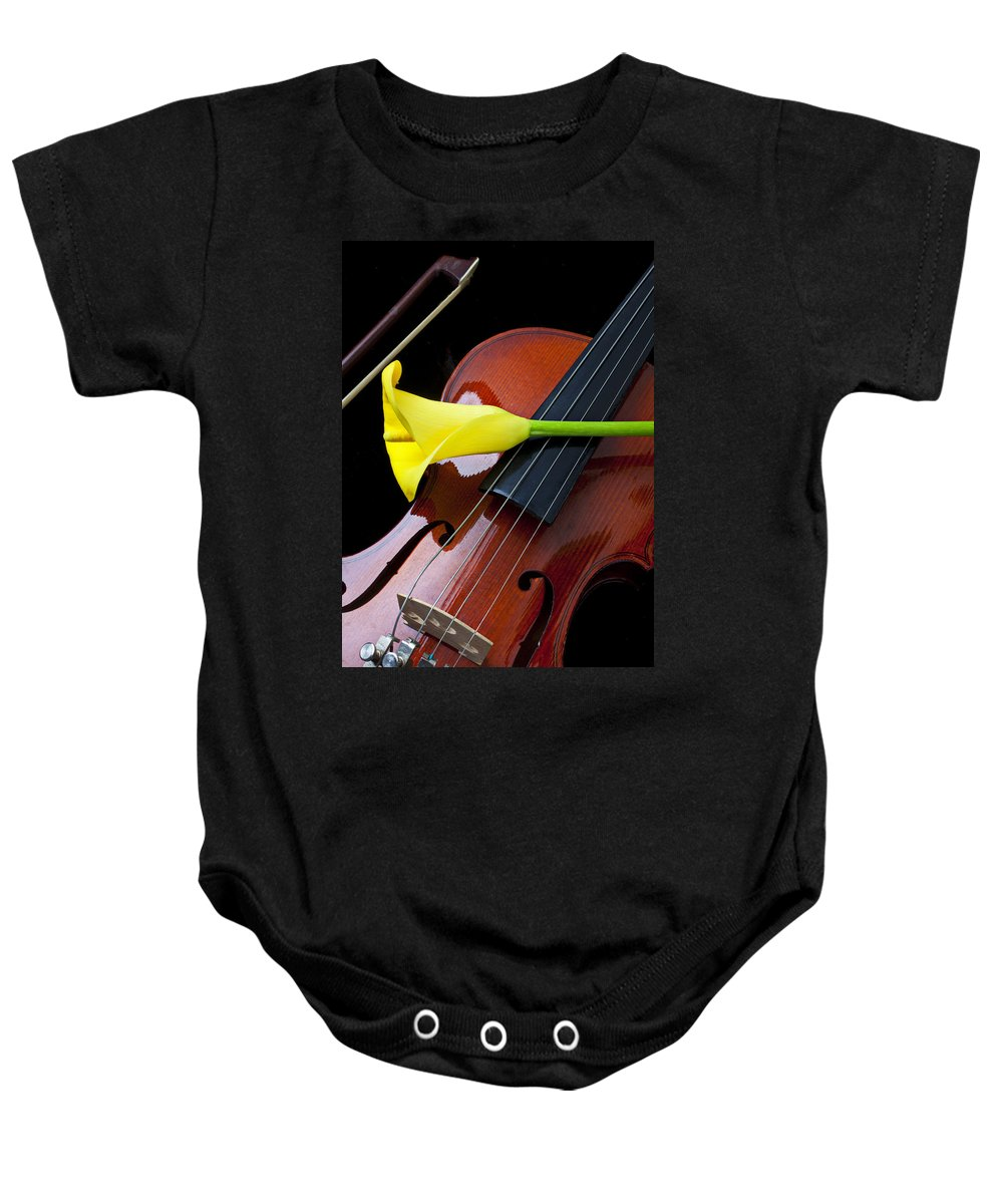 Violin Baby Onesie featuring the photograph Violin With Yellow Calla Lily by Garry Gay