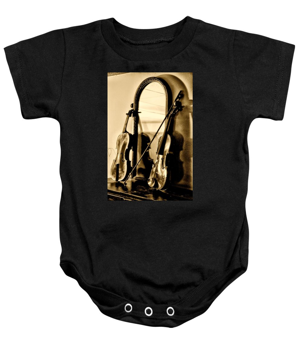 Violin Baby Onesie featuring the photograph Violins by Bill Cannon
