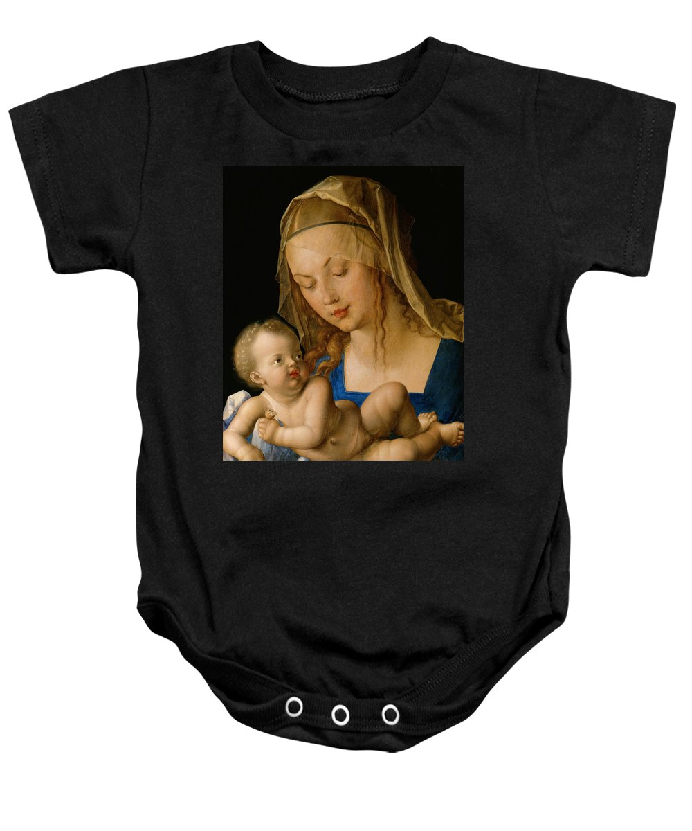 Albrecht Durer Baby Onesie featuring the painting Virgin And Child With A Pear by Albrecht Durer