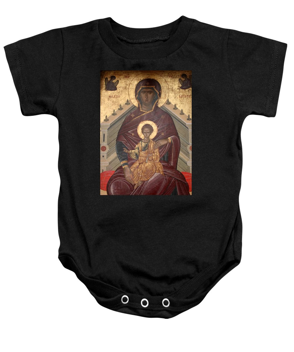Mary Baby Onesie featuring the photograph Virgin Mary With Baby Jesus by Yesim Tetik