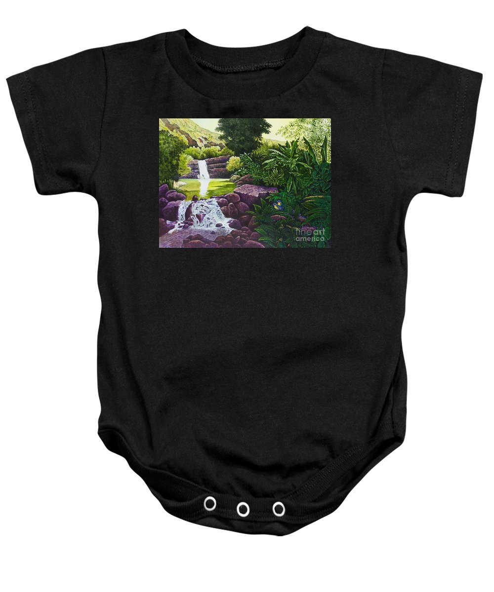 Hawaii Baby Onesie featuring the painting Visions Of Paradise X by Michael Frank