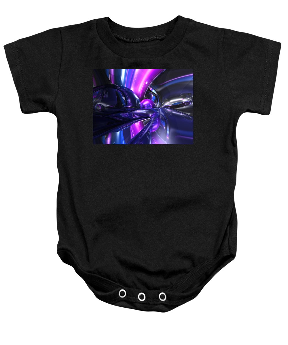 3d Baby Onesie featuring the digital art Vivid Waves Abstract by Alexander Butler