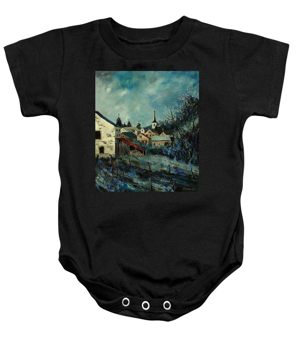 Village Baby Onesie featuring the painting Vivy Bouillon by Pol Ledent