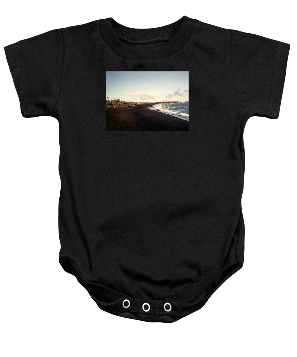 Hawaii Baby Onesie featuring the photograph Volcano Black Sand Beach by Our Place Of Joy