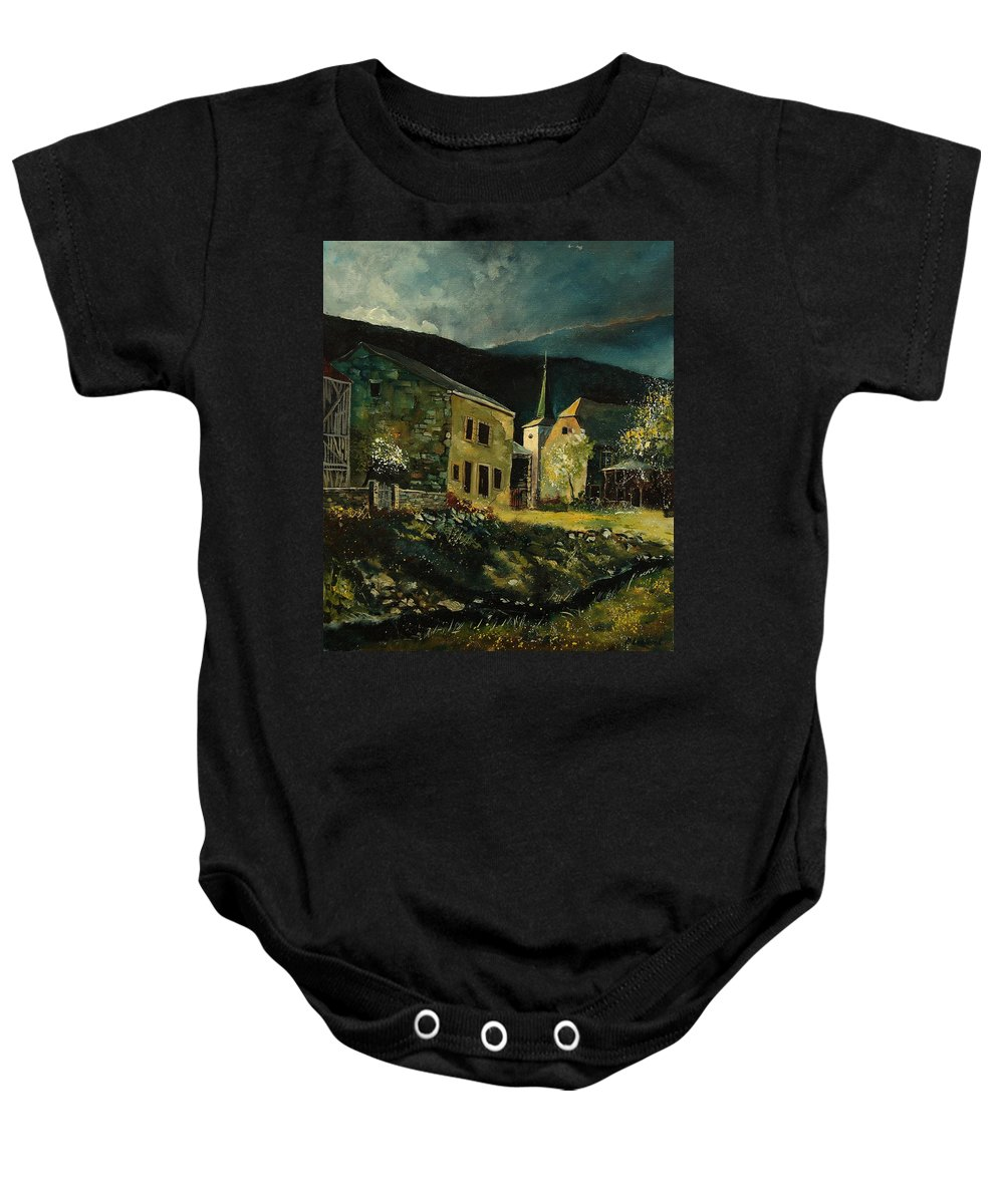 Tree Baby Onesie featuring the painting Vresse 67 by Pol Ledent