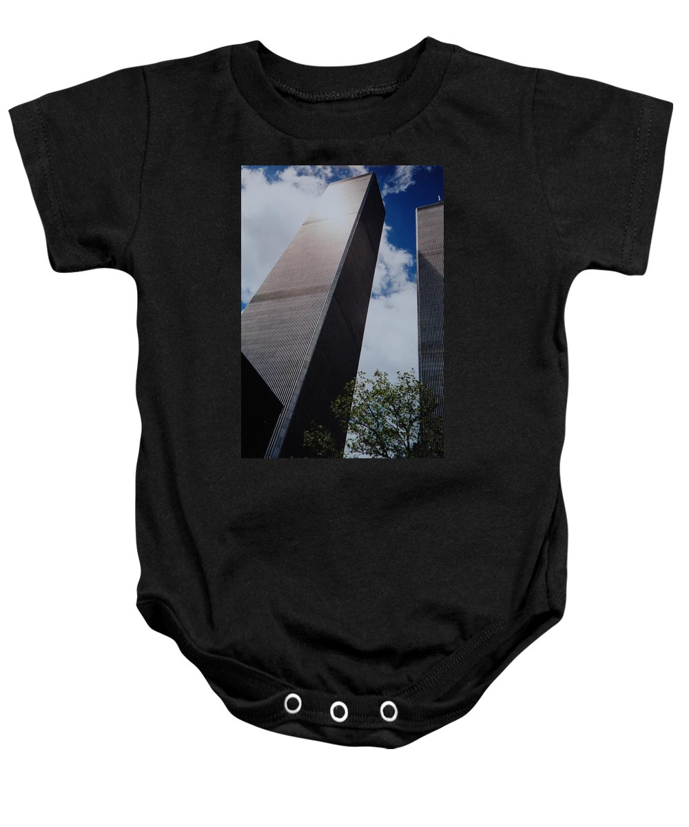 Wtc Baby Onesie featuring the photograph W T C 1 And 2 by Rob Hans