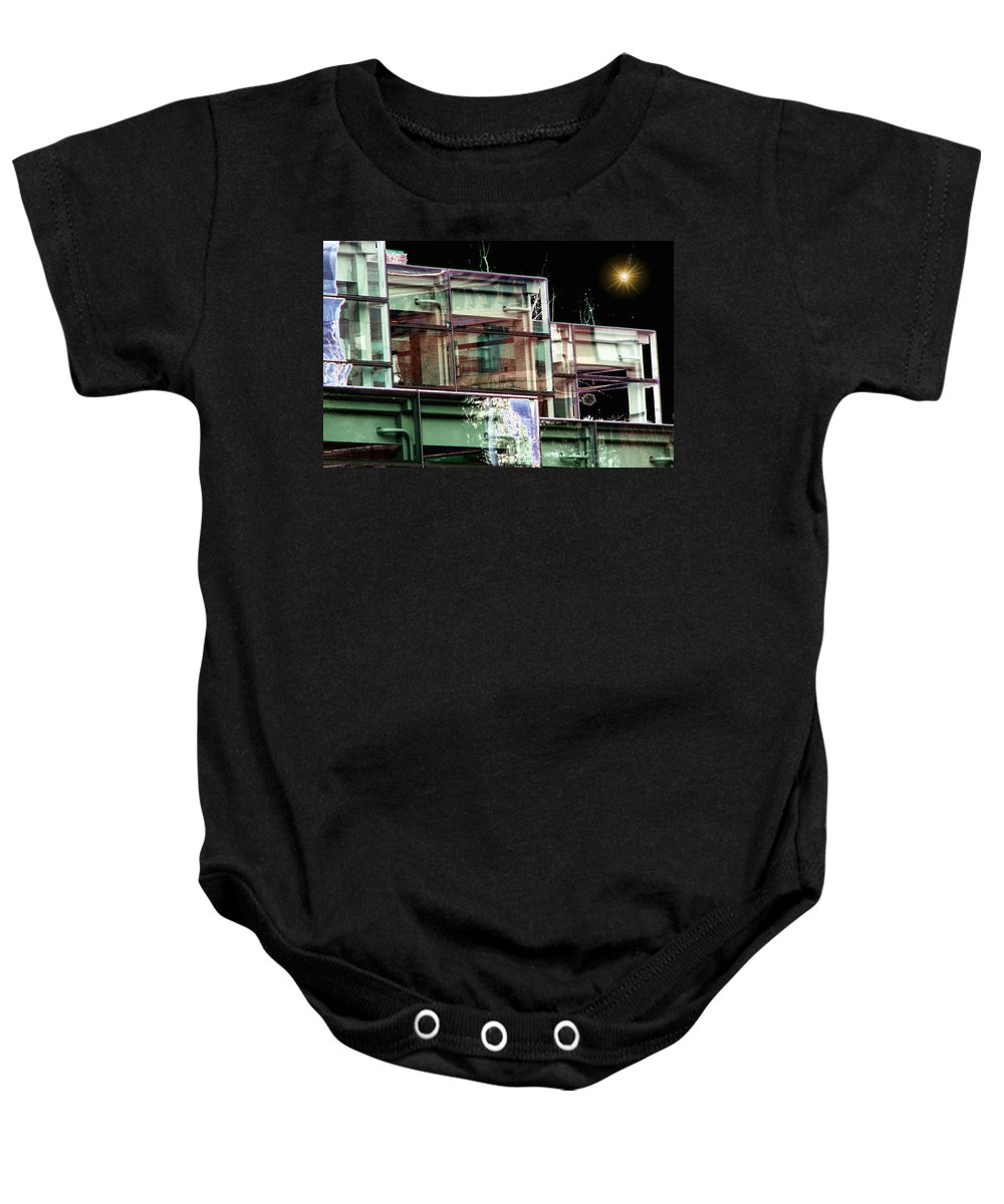 Seattle Baby Onesie featuring the digital art Wa State Convention And Trade Center by Tim Allen