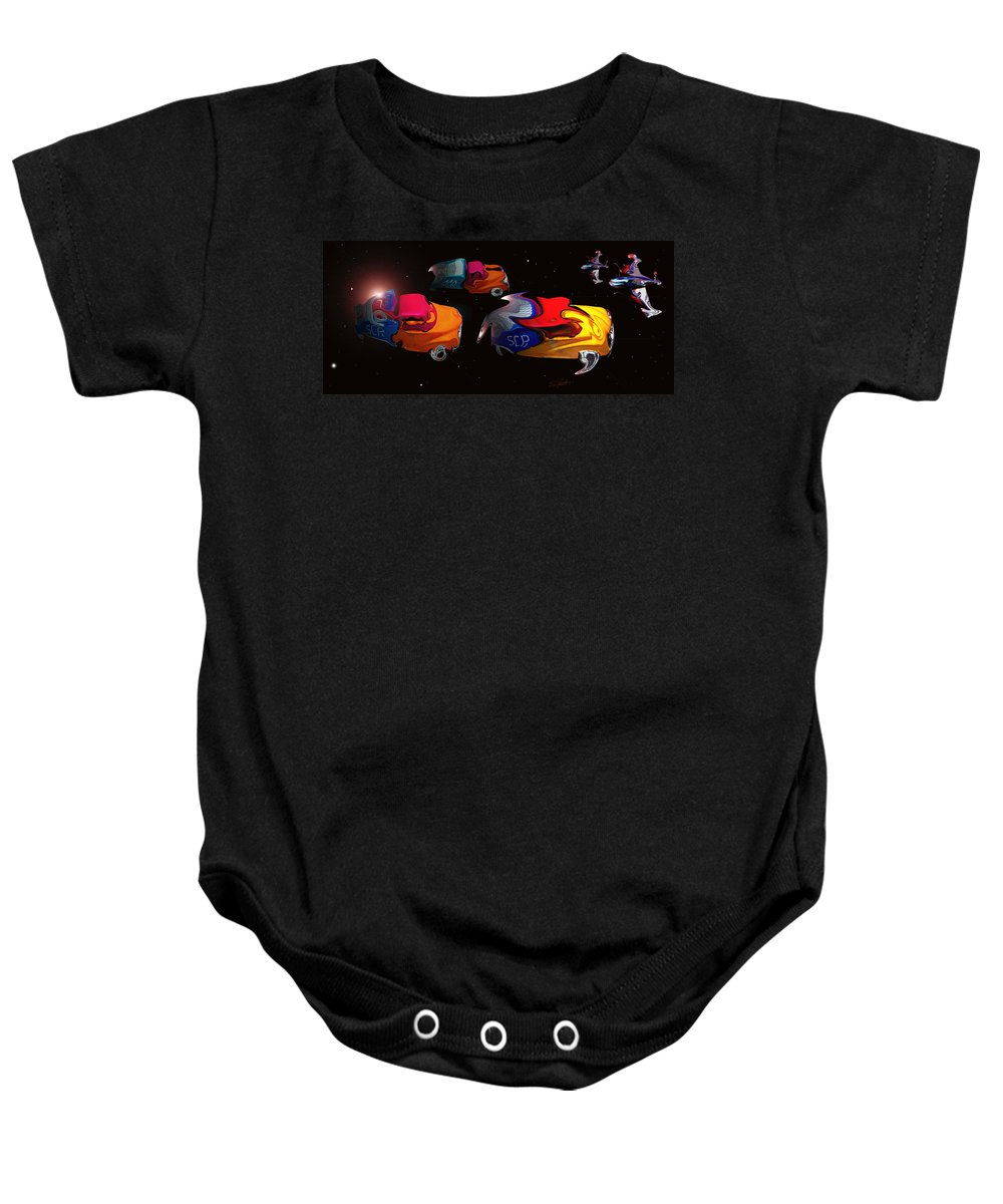 Pick Up Truck Baby Onesie featuring the painting Wagon Train To The Stars 2 by Charles Stuart