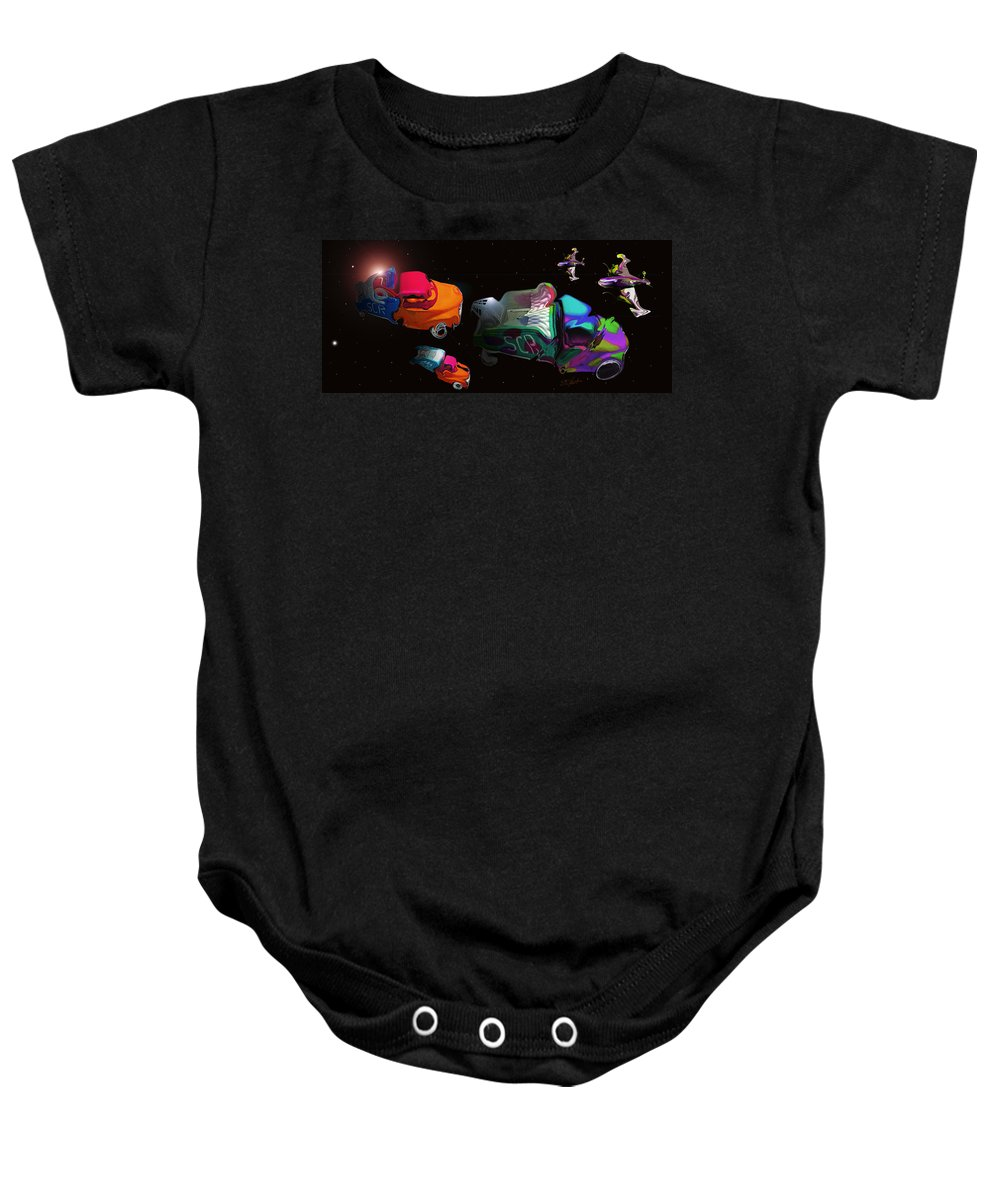 Trucks Baby Onesie featuring the painting Wagon Train To The Stars 3 by Charles Stuart