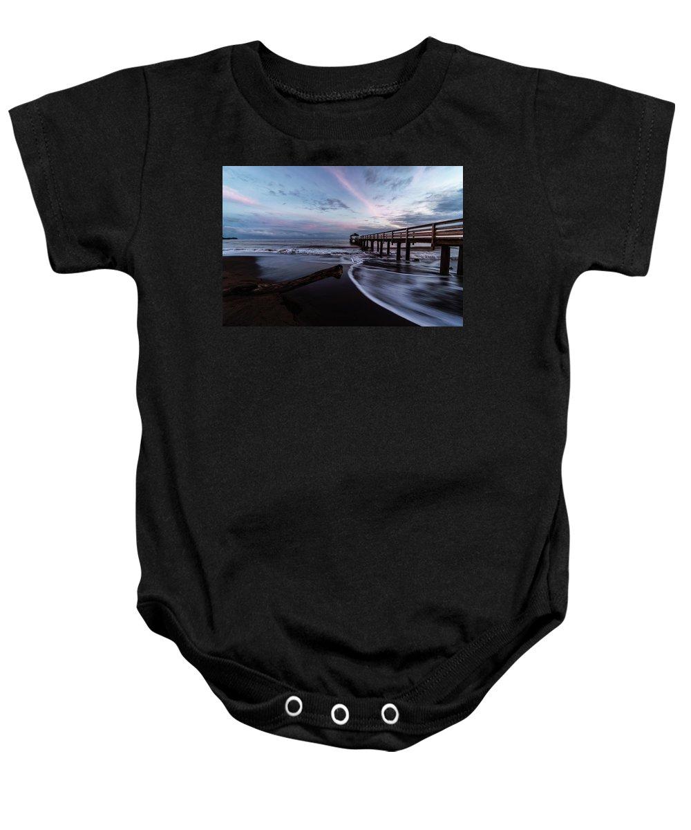 Beach Baby Onesie featuring the photograph Waimea Pier by David Kulp