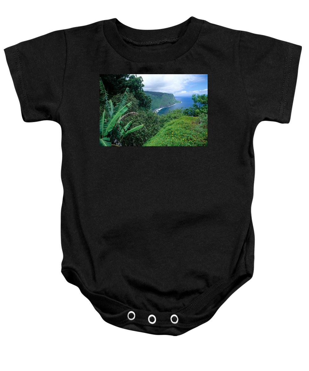 Afternoon Baby Onesie featuring the photograph Waipio Valley by Mary Van de Ven - Printscapes