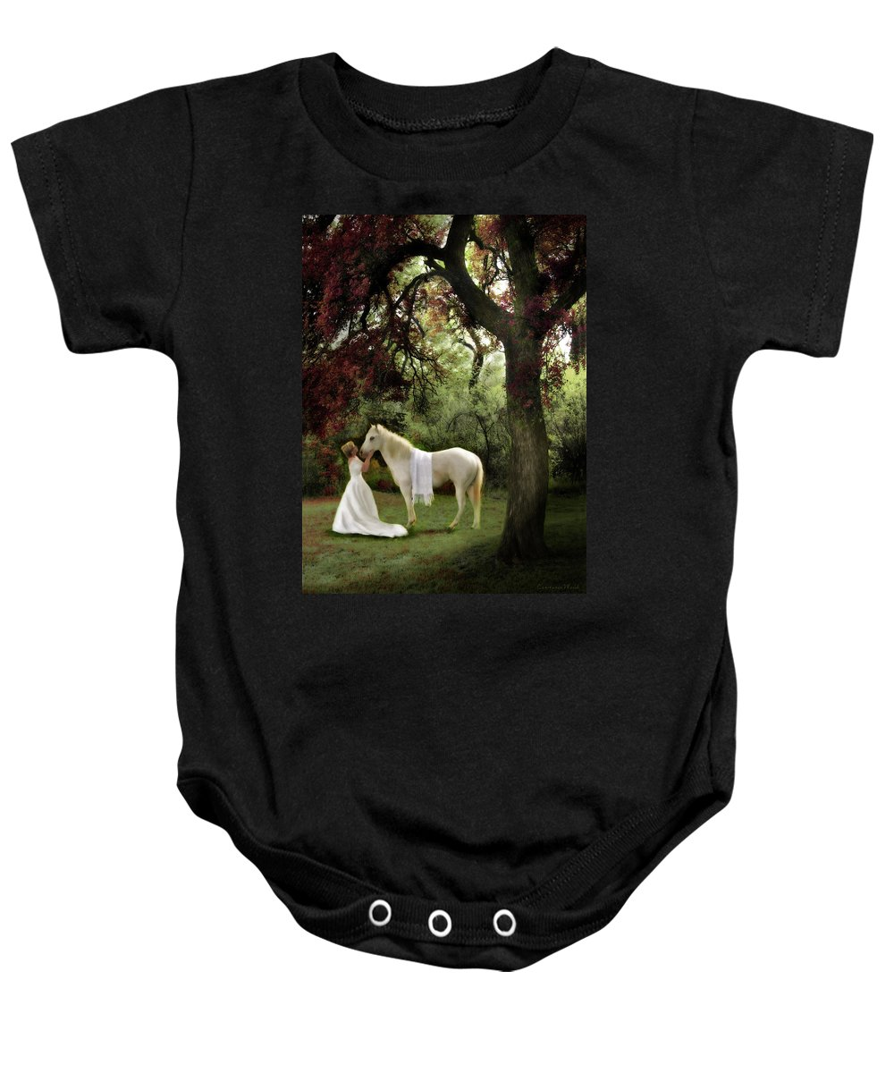 Bride Of Christ Art Baby Onesie featuring the painting Waiting For My Prince by Constance Woods