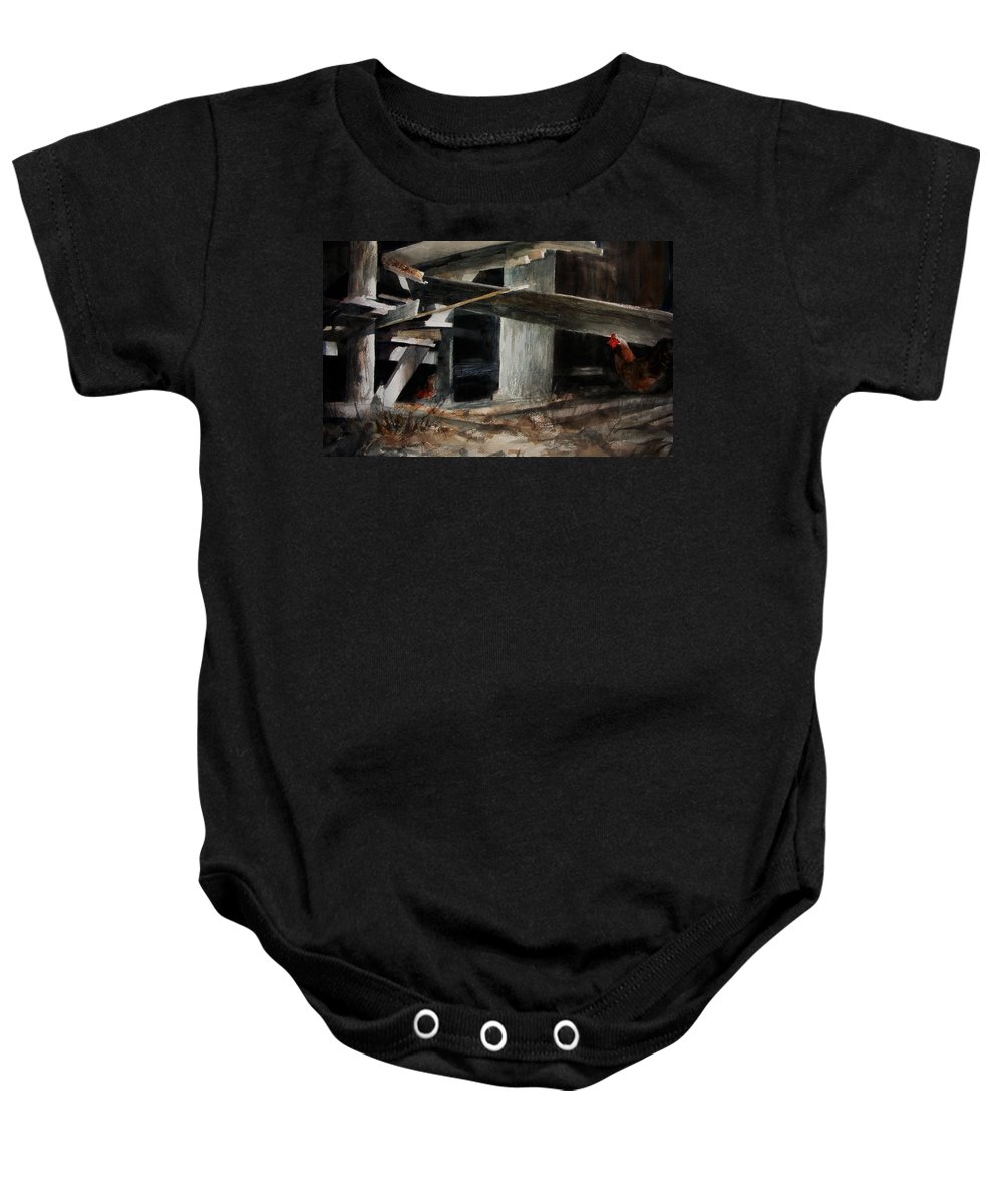 Landscape Baby Onesie featuring the painting Wakeup Call by Rachel Christine Nowicki