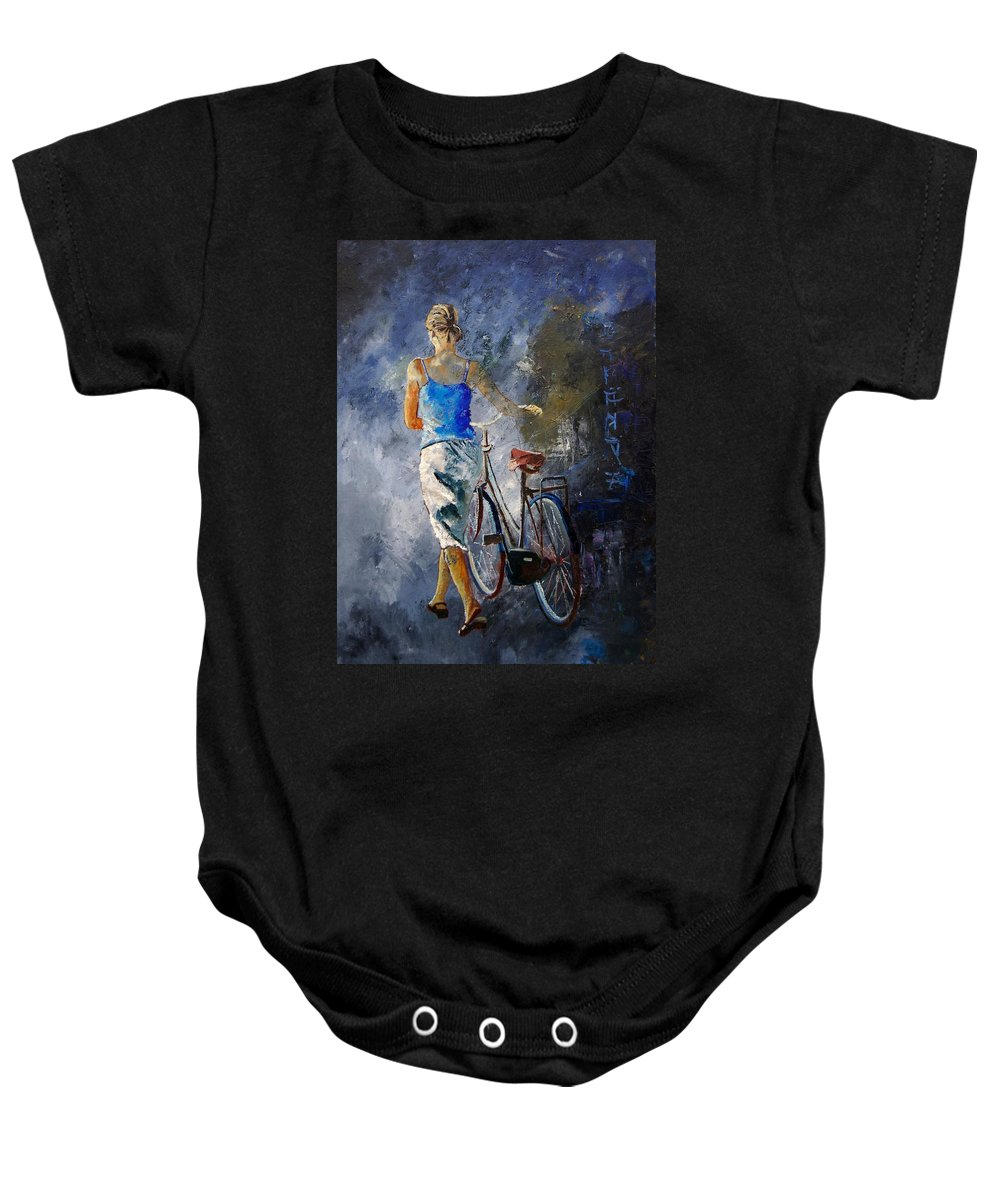 Girl Baby Onesie featuring the painting Waking Aside Her Bike 68 by Pol Ledent