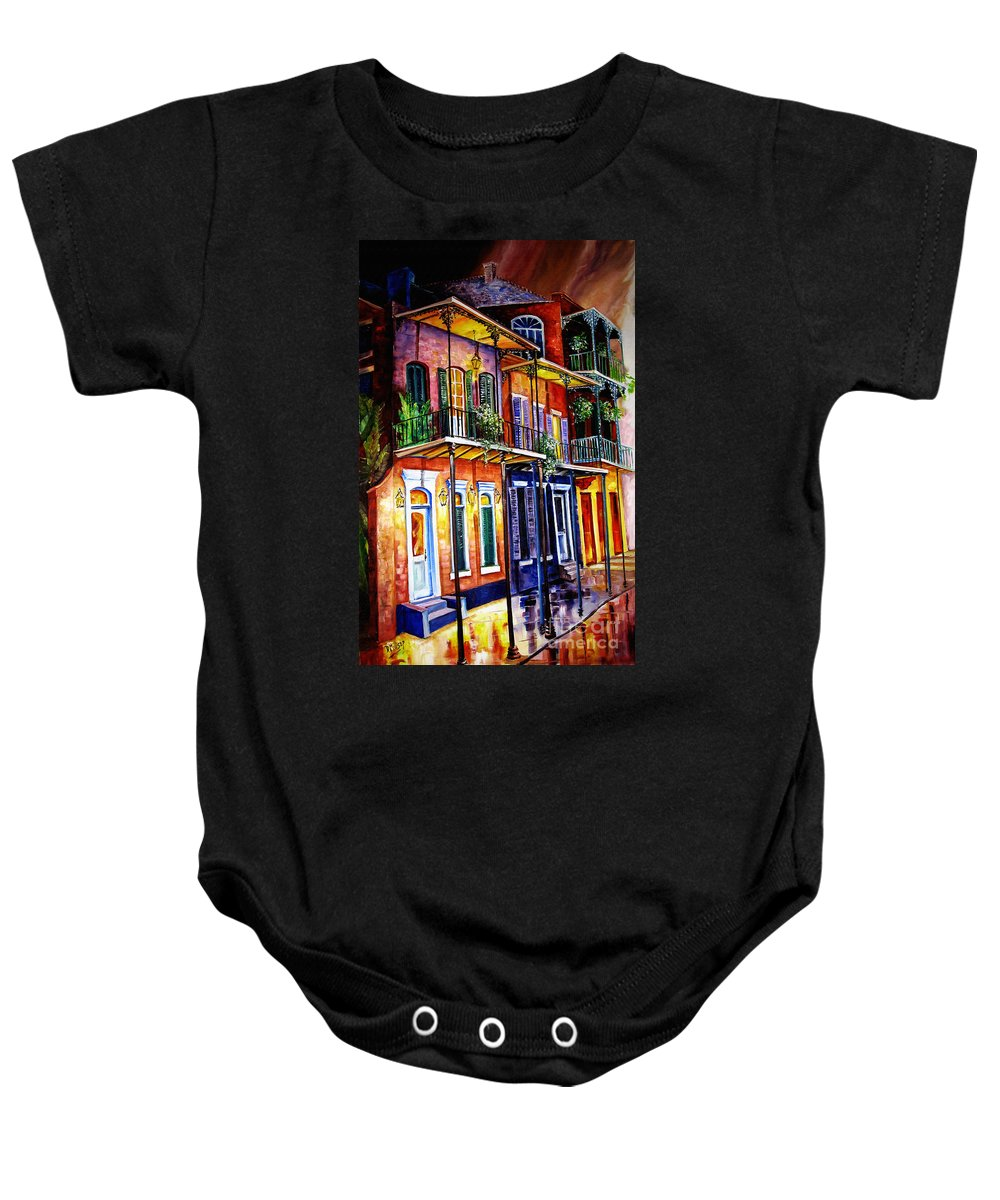 New Orleans Paintings Baby Onesie featuring the painting Walk Into The French Quarter by Diane Millsap