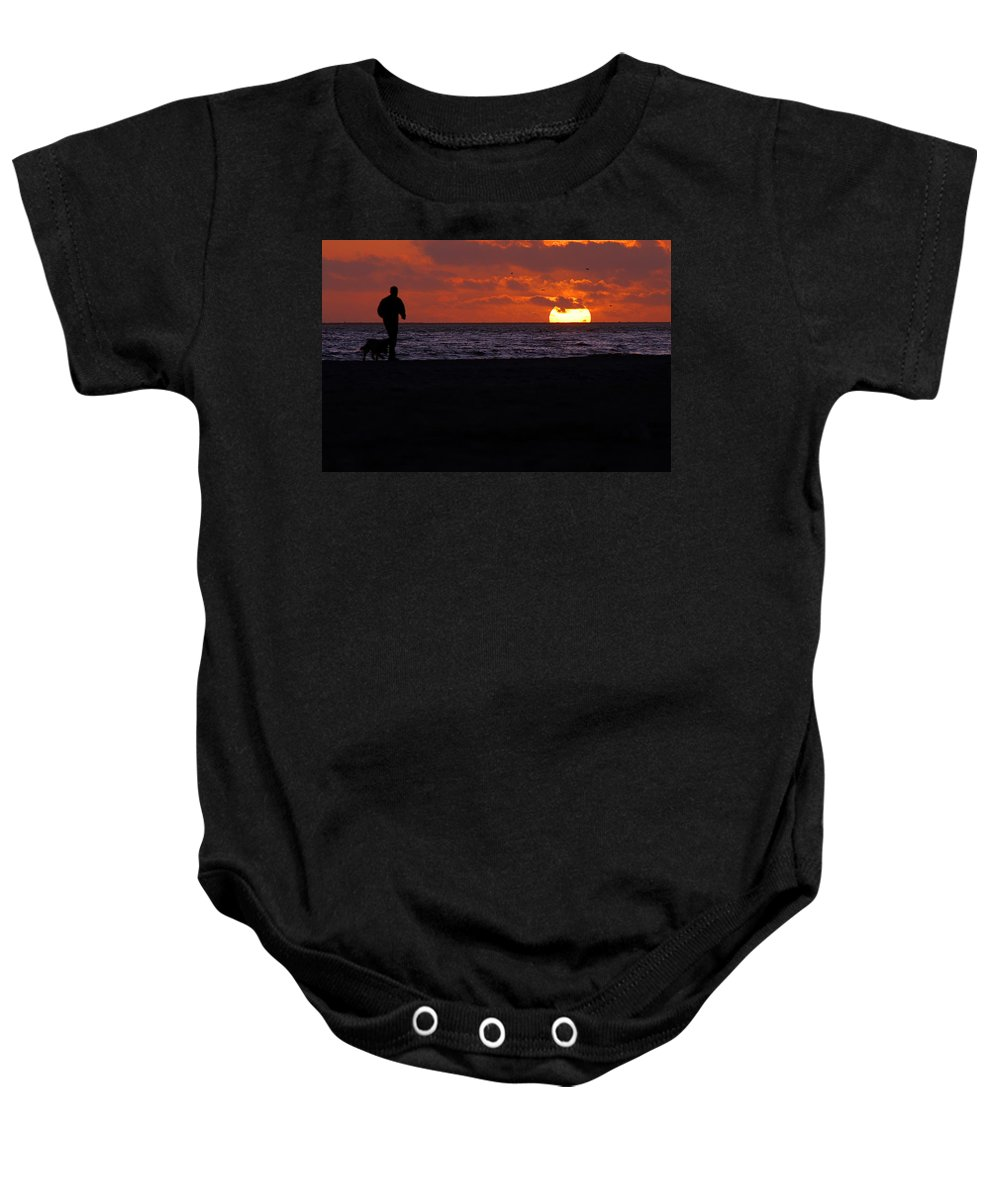 Clay Baby Onesie featuring the photograph Walking The Dog by Clayton Bruster