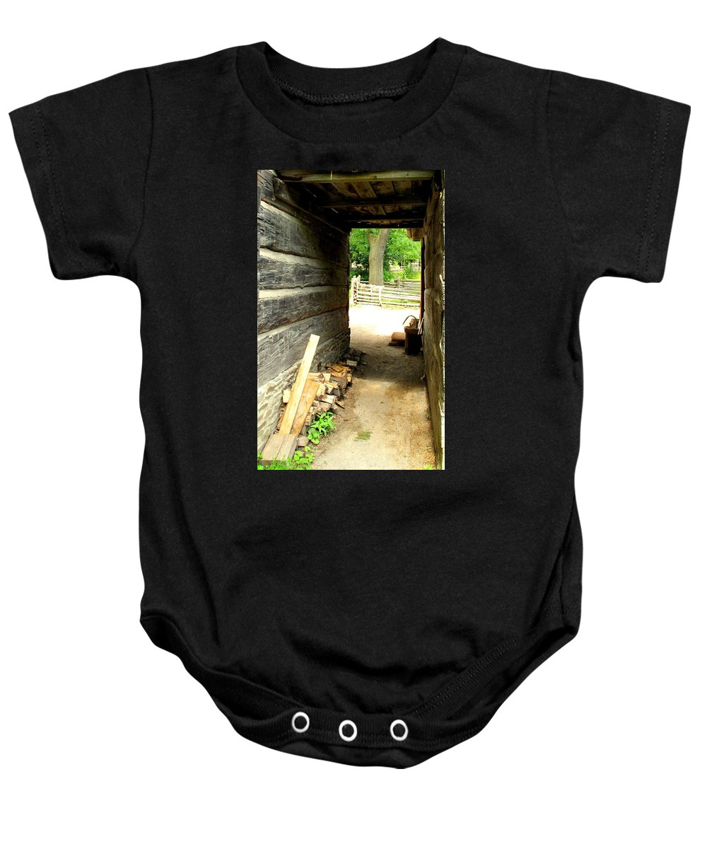 Pioneer Baby Onesie featuring the photograph Walkway by Ian MacDonald