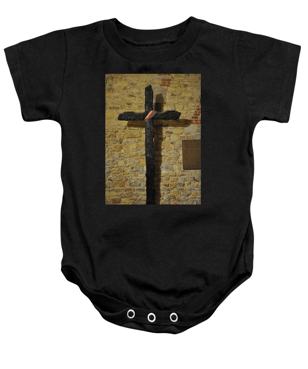 Cross Baby Onesie featuring the photograph Wall Cross by John Hughes