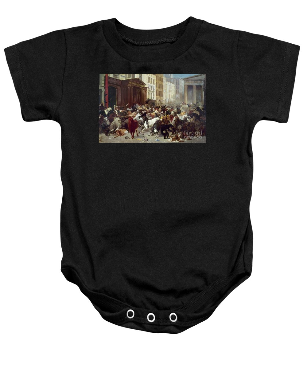 1879 Baby Onesie featuring the photograph Wall Street: Bears & Bulls by Granger