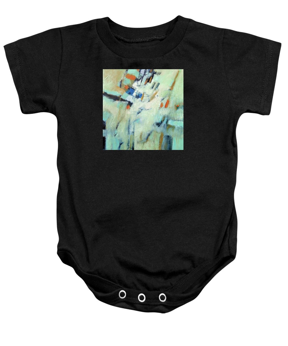 Abstract Baby Onesie featuring the painting Wanderlust by Filomena Booth