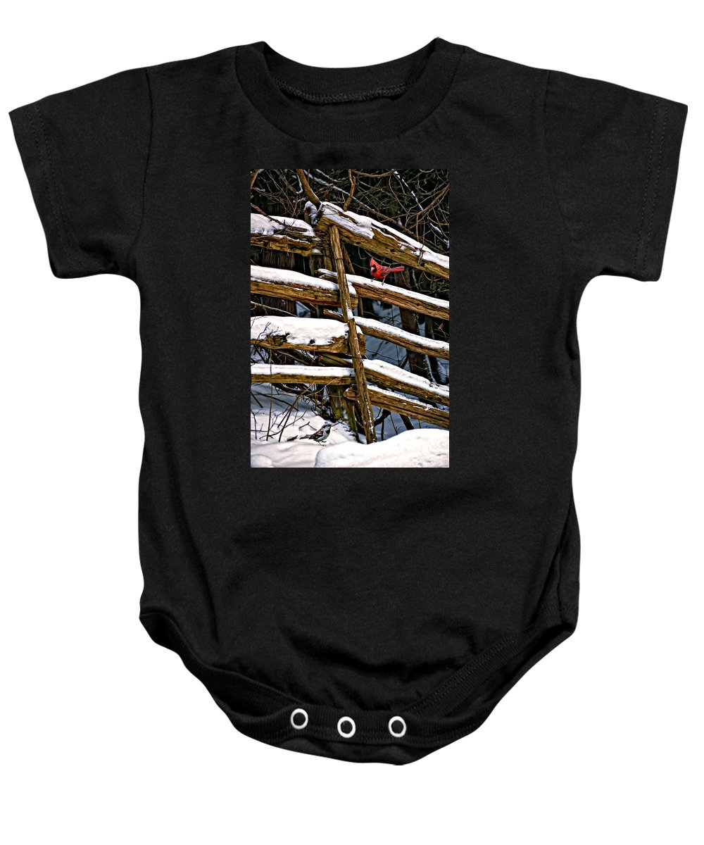 Winter Baby Onesie featuring the photograph Watching You by Steve Harrington