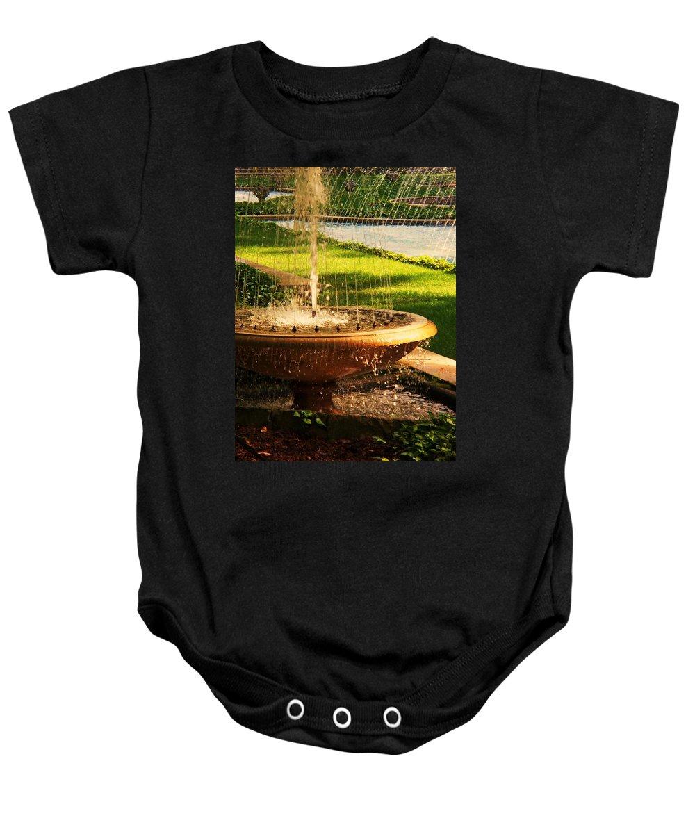 Landscape Baby Onesie featuring the photograph Water Fountain Garden by Eric Schiabor