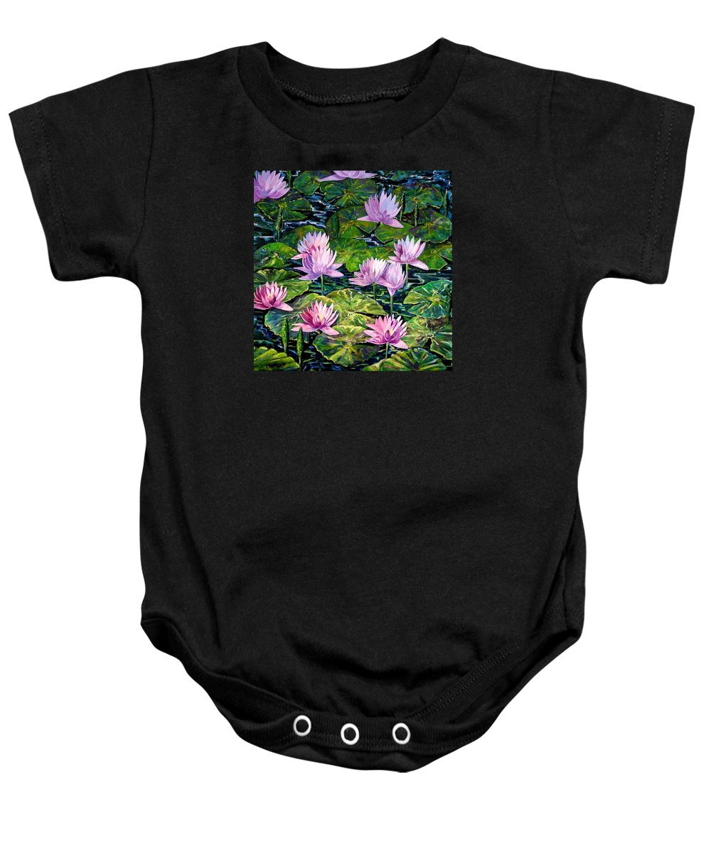 Flowers Baby Onesie featuring the painting Water Lilies by Caroline Street