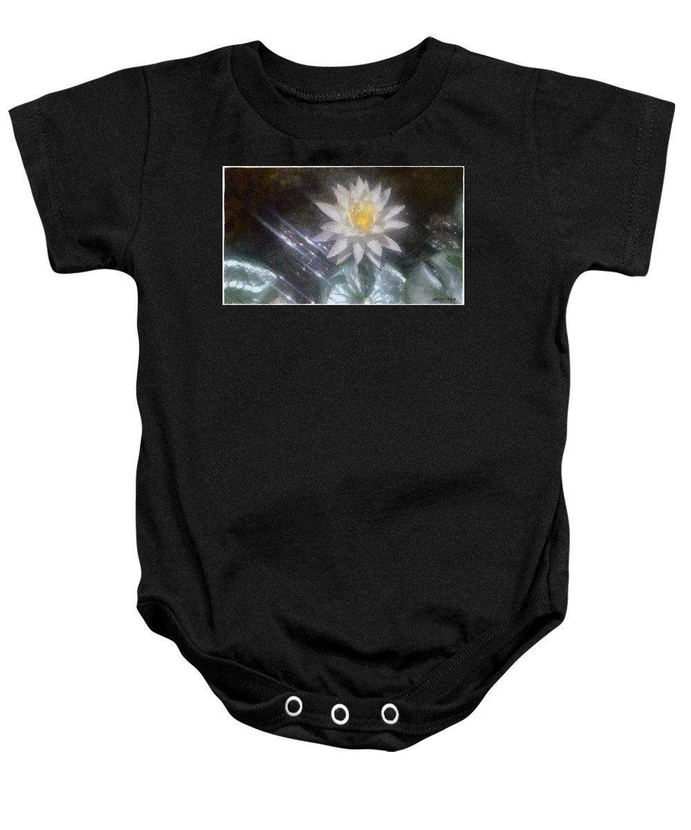 Water Lily Baby Onesie featuring the painting Water Lily In Sunlight by Jeffrey Kolker