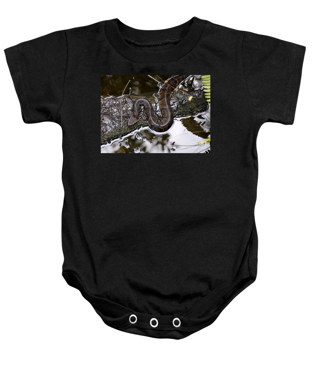 Water Moccasin Baby Onesie featuring the photograph Water Moccasin by David Lee Thompson