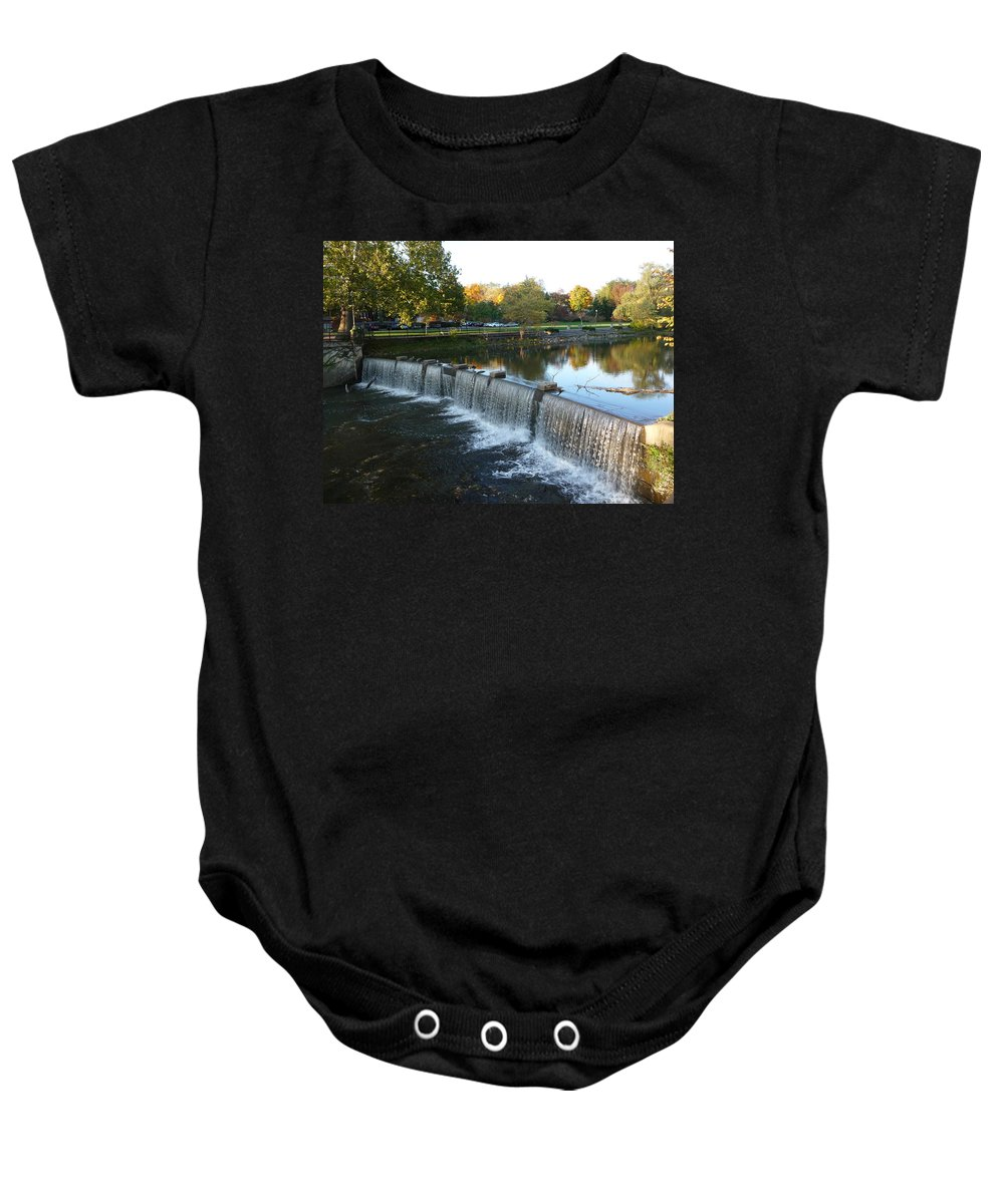 Chagrin Falls Baby Onesie featuring the photograph Water Over The Dam by Joel Deutsch