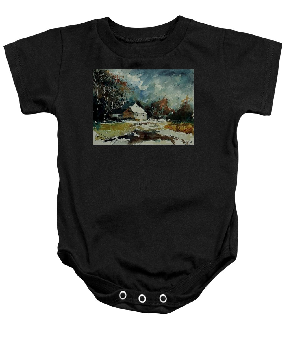 Landscape Baby Onesie featuring the painting Watercolor 900111 by Pol Ledent