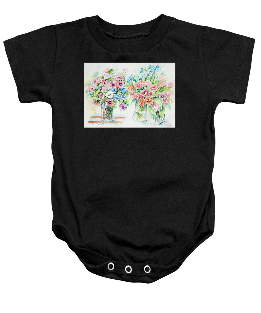 Flowers Baby Onesie featuring the painting Watercolor Series 154 by Ingrid Dohm
