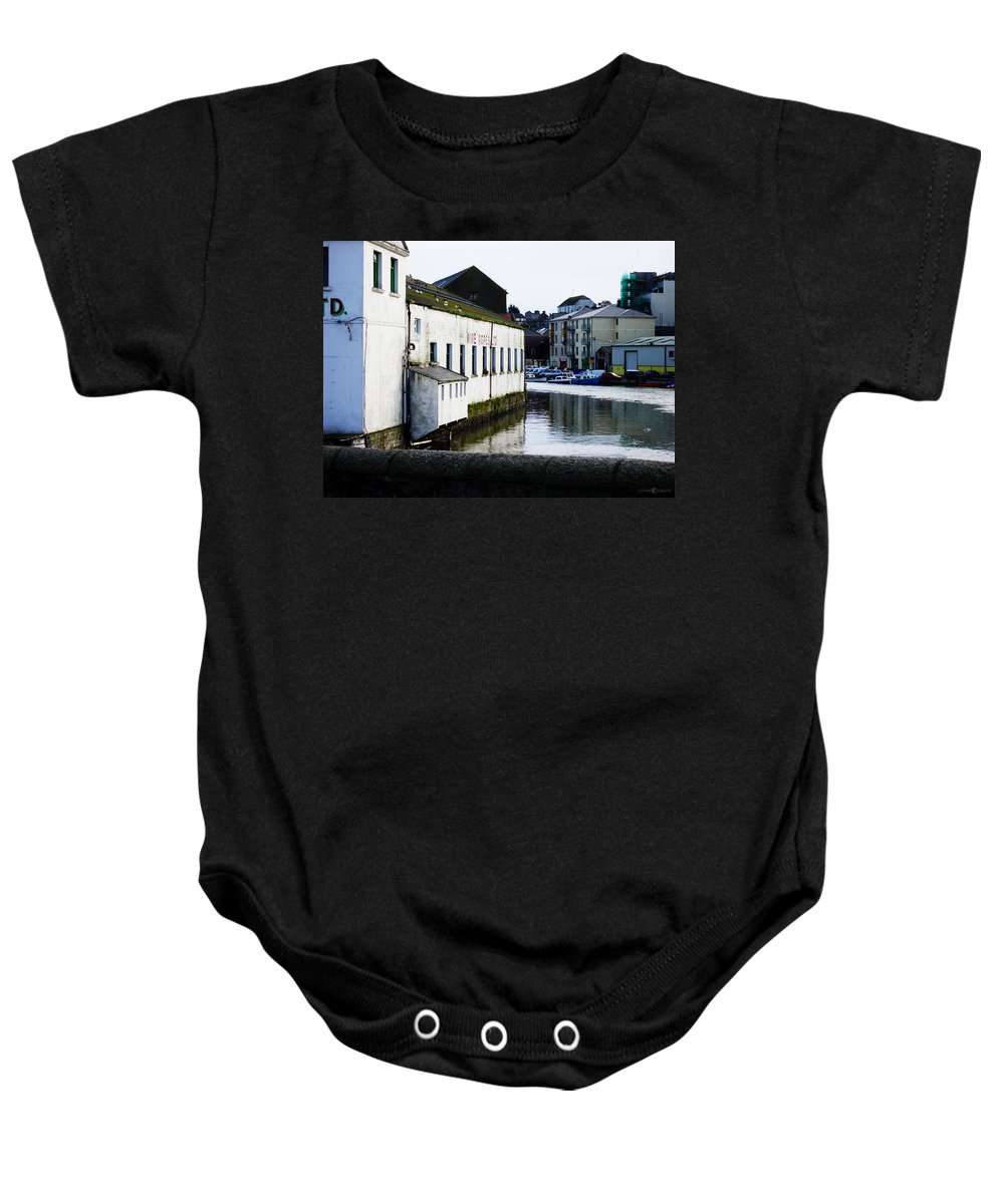 River Baby Onesie featuring the photograph Waterfront Factory by Tim Nyberg