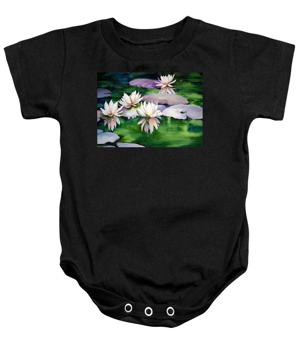 Floar Baby Onesie featuring the painting Waterlilies by Michael Pearson
