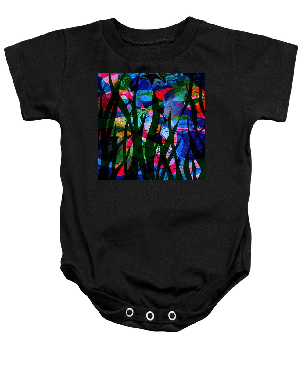 Abstract Baby Onesie featuring the digital art Watermelon And A Swim by Rachel Christine Nowicki