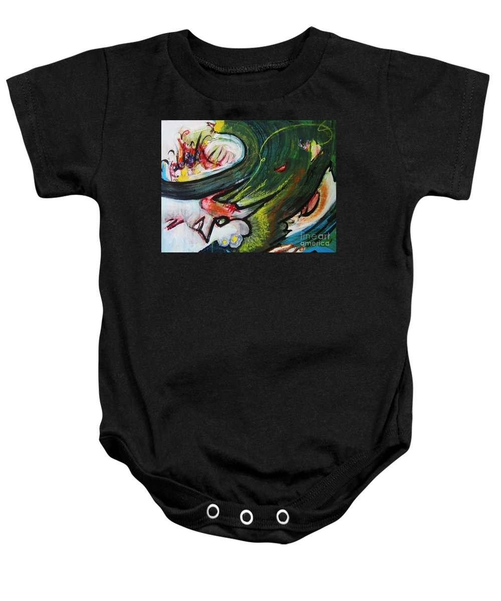 Abstract Paintings Paintings Abstract Art Paintings Baby Onesie featuring the painting Waves by Seon-Jeong Kim