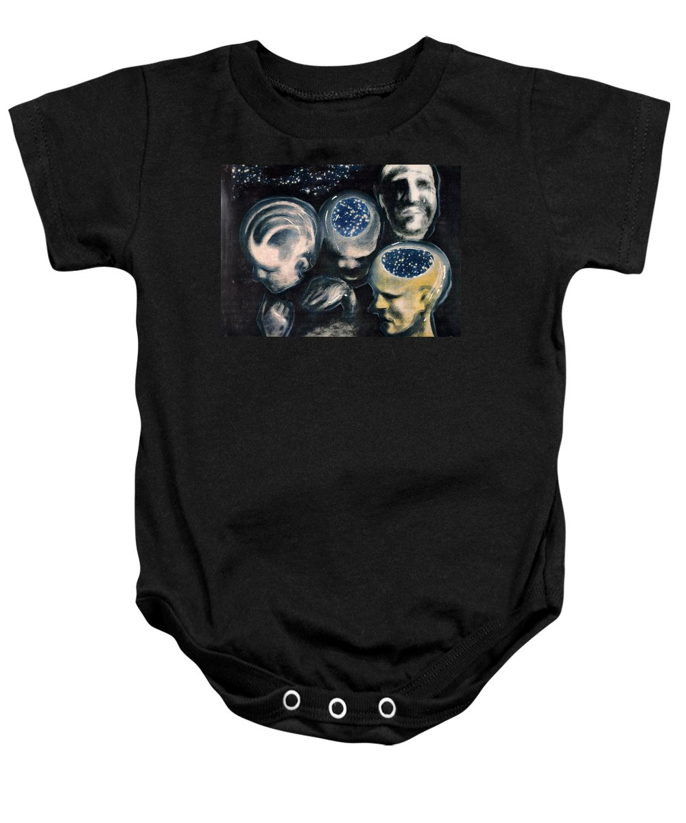 Universe Aura Thoughts Thinking Faces Mistery Baby Onesie featuring the mixed media We Are Universe by Veronica Jackson