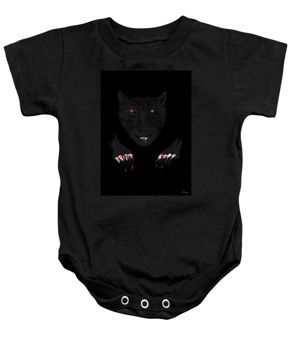 Wearwolf Wolf Scary Blood Eyes Haunting Black Claws Nails Fangs Baby Onesie featuring the digital art Wearwolf by Andrea Lawrence