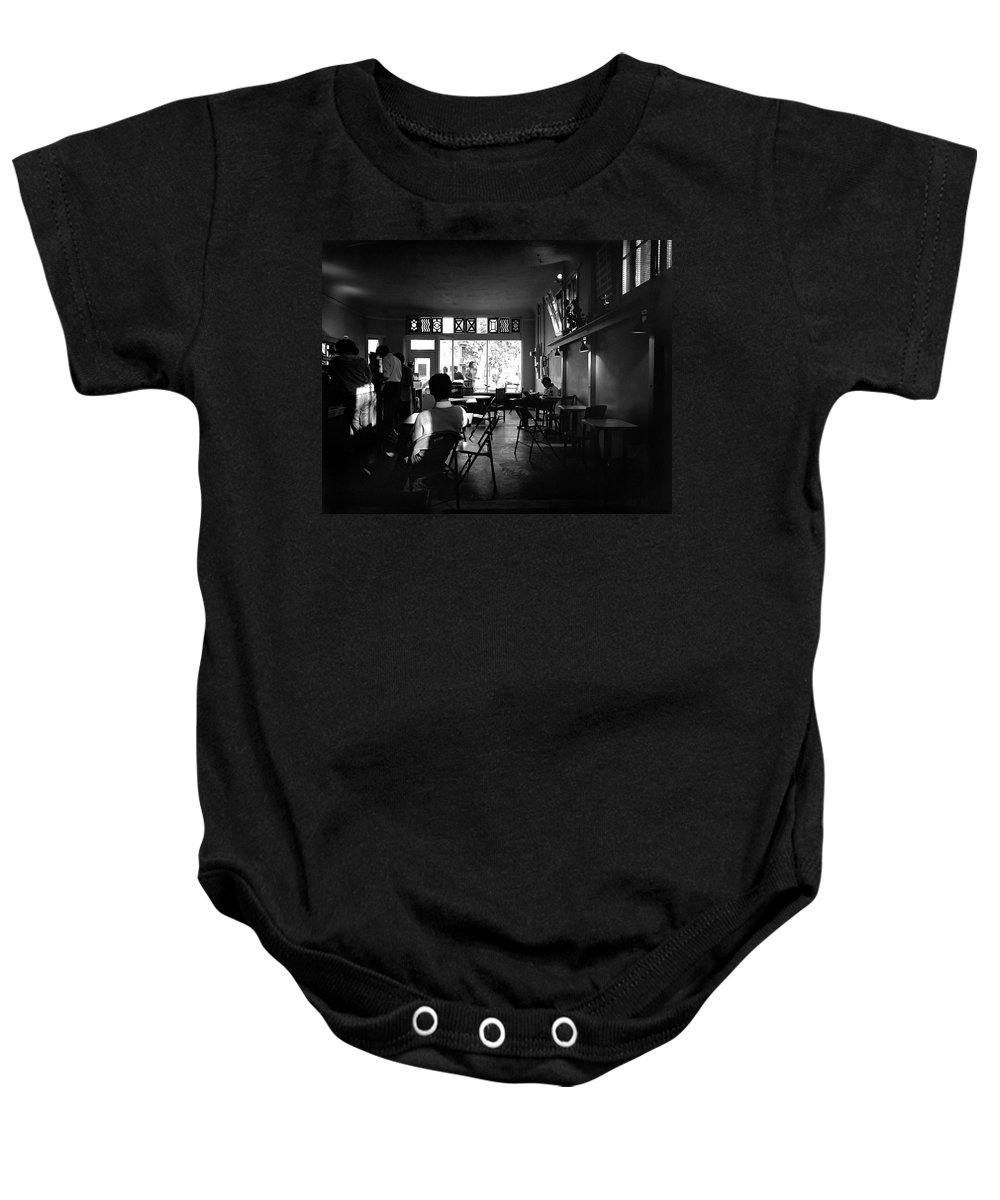 Sacramento Baby Onesie featuring the photograph Weatherstone Coffee House by Lee Santa