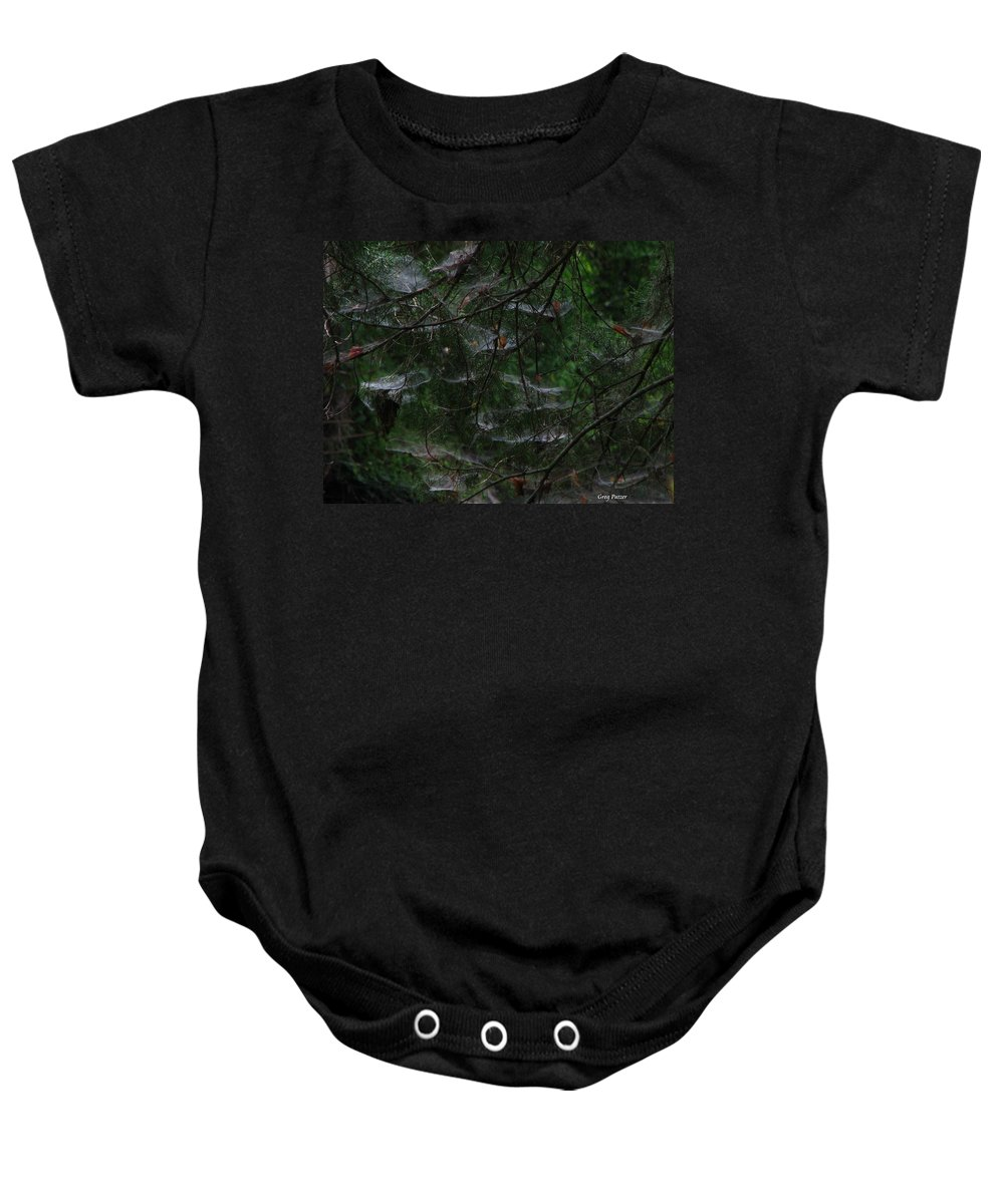 Patzer Baby Onesie featuring the photograph Webs Of A Tree by Greg Patzer