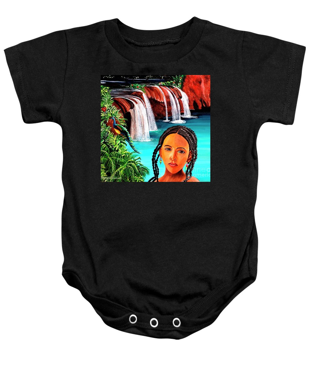 Woman Canvas Print Baby Onesie featuring the painting Welcome To My Sancturary by Jayne Kerr