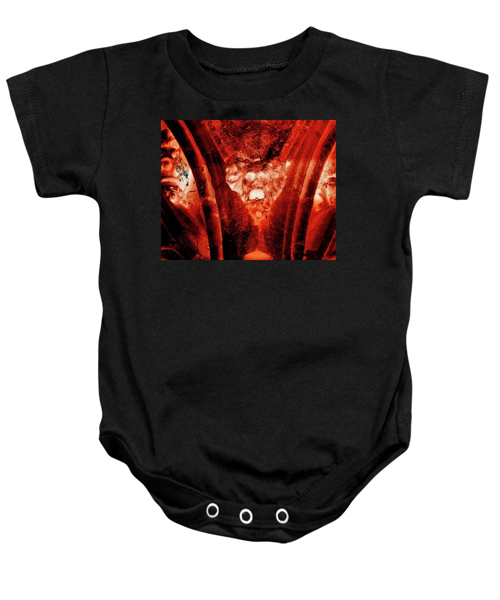 Aged Baby Onesie featuring the photograph Wells Cathedral Gargoyles Color Negative A by Jacek Wojnarowski