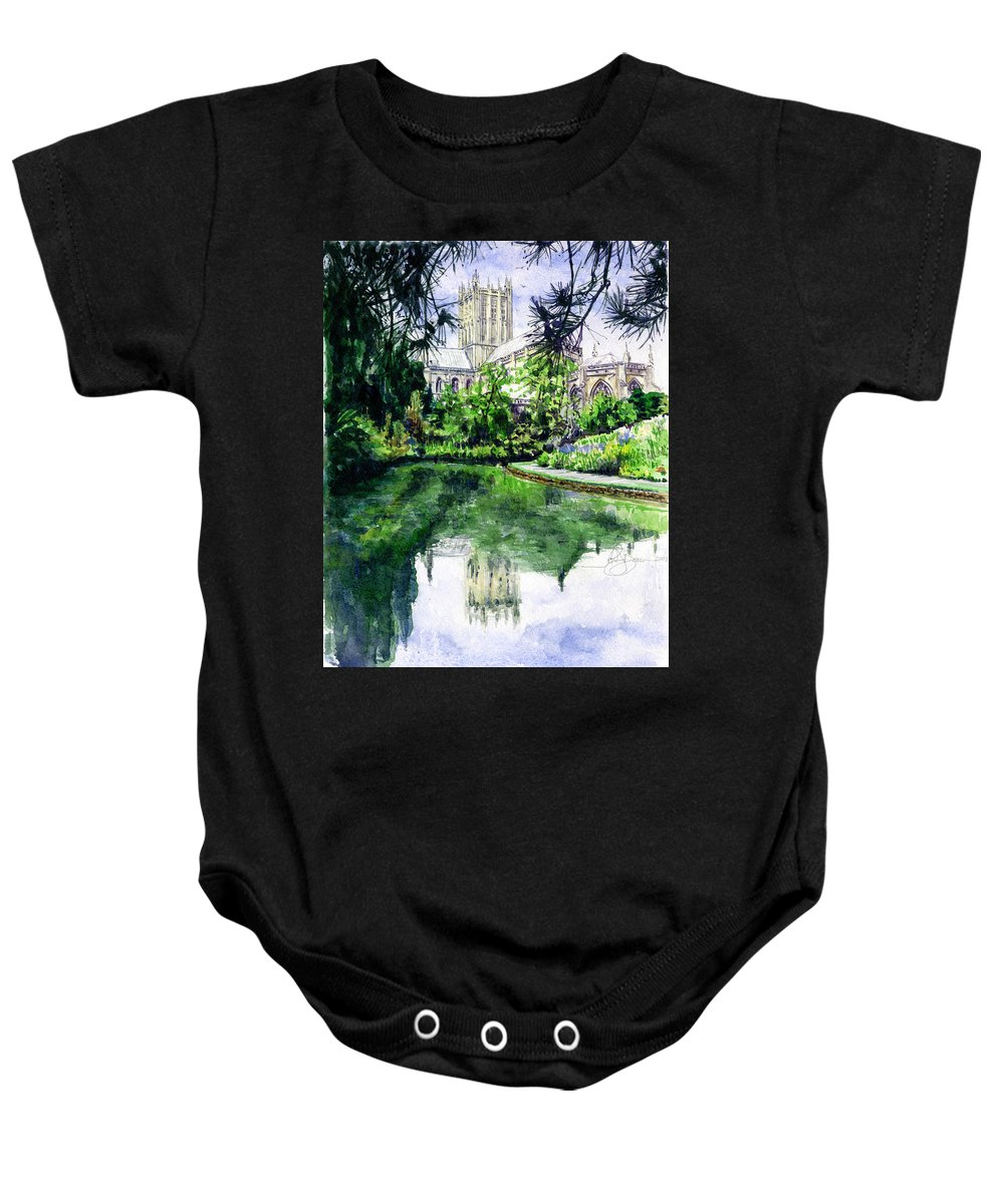 Wells Baby Onesie featuring the painting Wells Cathedral by John D Benson