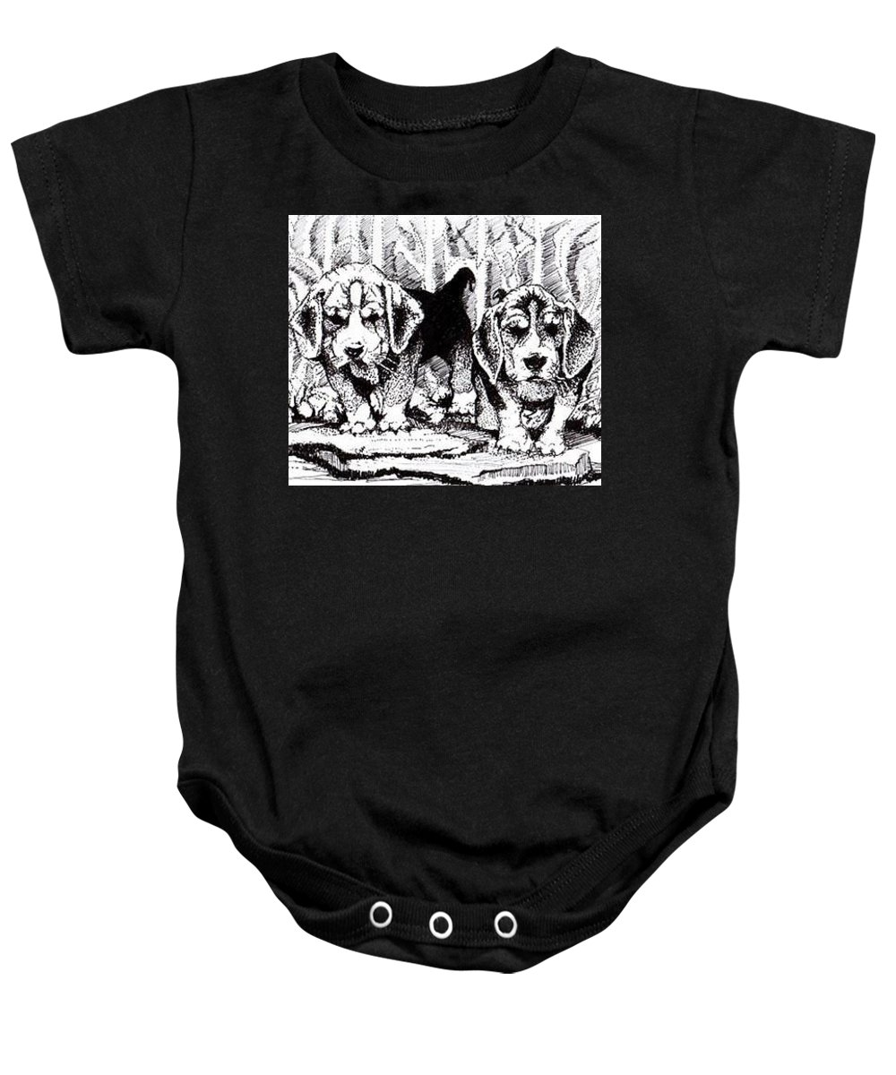 Pen And Ink Baby Onesie featuring the drawing Were Beagles 1 by Carrley Mason