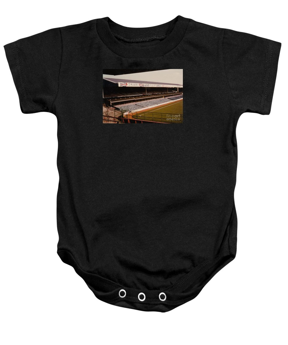 Baby Onesie featuring the photograph West Bromwich Albion - The Hawthorns - Rainbow Stand 1 - 1980s by Legendary Football Grounds