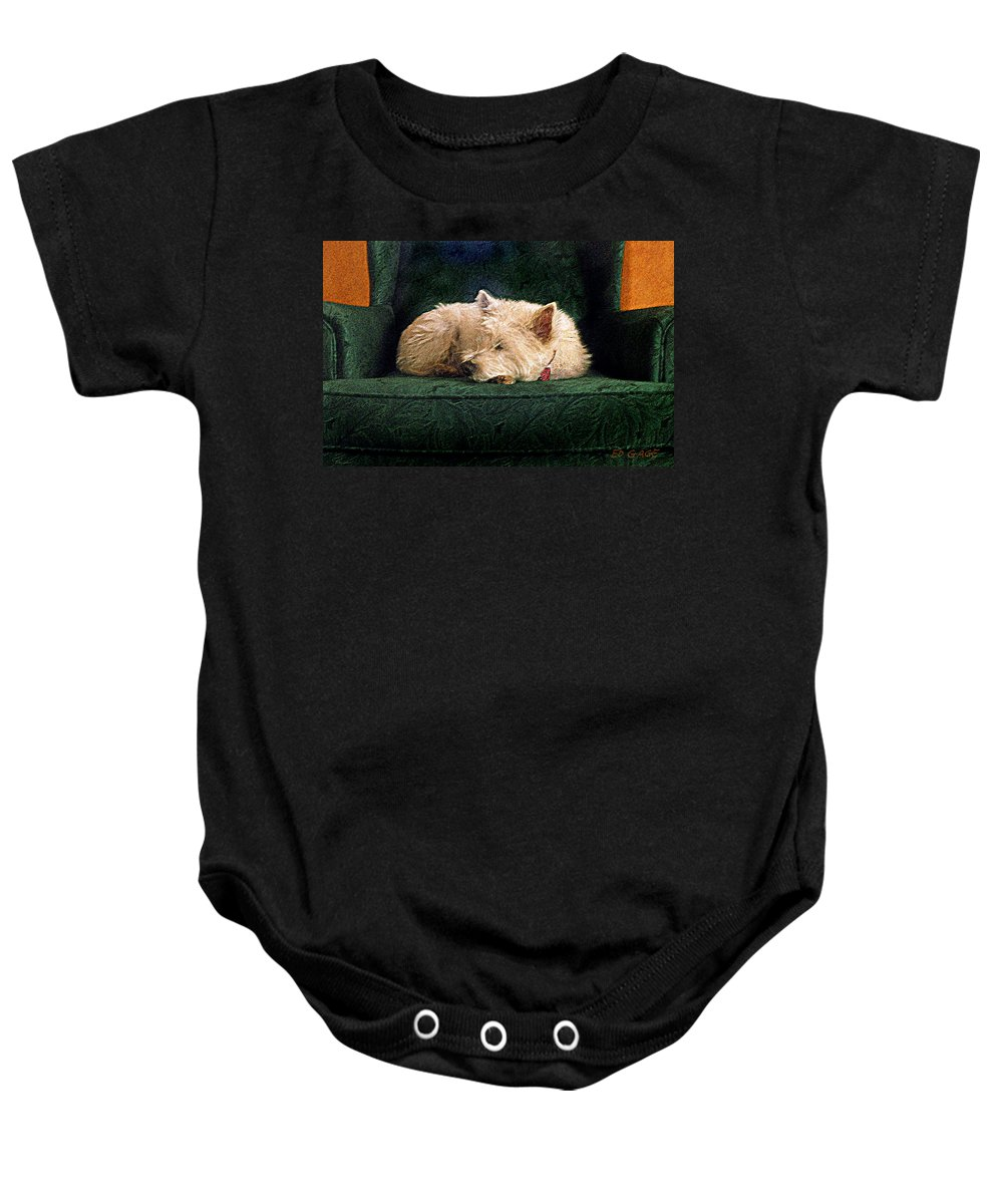 Westie Baby Onesie featuring the photograph Westie Nap by Ed A Gage